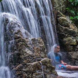 Chilling by Loh Jiann - People Portraits of Men ( splash, frim, waterfall, men, chill )