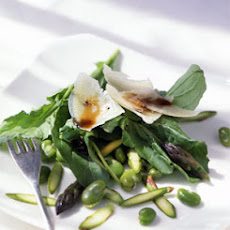 Fava Bean, Asparagus, and Arugula Salad with Shaved Pecorino