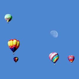 Moon Framed by Ballons by Tony Huffaker - Transportation Other ( hot air, moon, frame, utah, ballons, sandy, morning )