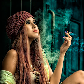 Smoking by Roynindra Malaon - People Portraits of Women