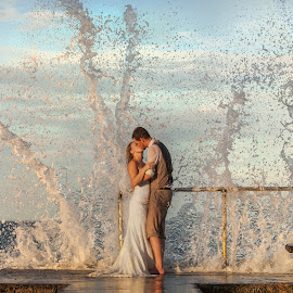 Waves of Love by Kat Van Kan - Wedding Bride & Groom ( jamaica, waves of love, ttd, destination wedding photos, destination wedding, trash the dress )
