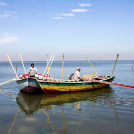 Sailing Boat by Dalia Rady - Transportation Boats ( small boat, sailing, fayoum, qaroun lake, egypt )