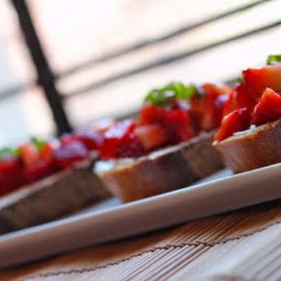 Strawberry & Goat Cheese Bruschetta and a Blogiversary