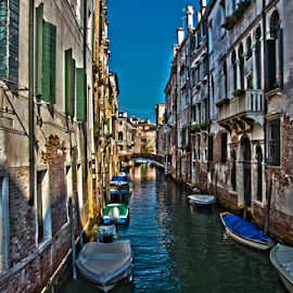 Venice Canal HDR by Toine Baken - City,  Street & Park  Historic Districts ( colour, water, sky, hdr, color, venice, boat, italy, light, canal, photography, Urban, City, Lifestyle )