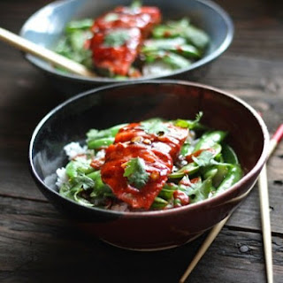 Teriyaki Salmon Bowls with Snap Peas & Sriracha