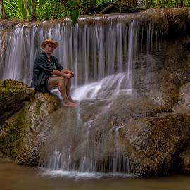 Man at Waterfall by John Greene - People Portraits of Men ( selfie, waterfall, scenic, penny, john greene, portrait, kanchanaburi )