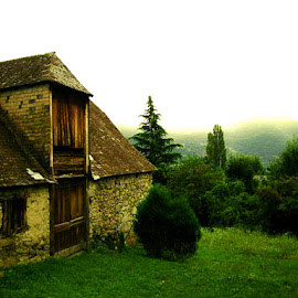 by Angie Constable - Buildings & Architecture Other Exteriors ( hills, cottage house, mountains, fog, green, stone house )