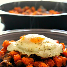 Cajun Pork Belly & Sweet Potato Hash
