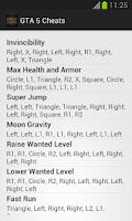 Screenshot of GTA 5 Cheats - All cheat codes