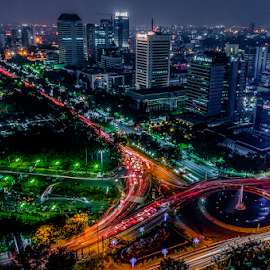 Jakarta Nightscape  by Erwin Sutarko - City,  Street & Park  Night ( cityscapes, city scene, indonesia, capital city, jakarta, cityscape, city skyline, nightscapes, nightscape,  )