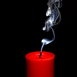 Red candle by Marko Tamela - Artistic Objects Other Objects ( abstract, candle, red, birthdays, black, smoke )