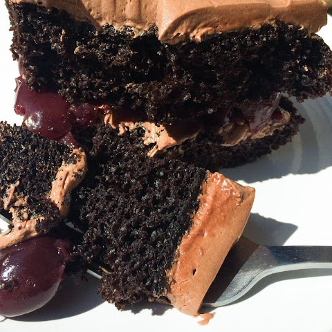 Chocolate Cake with Cherry Filling and Chocolate Butter Cream Frosting