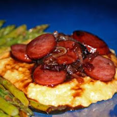 Raspberry Kielbasa over Cheese Grits