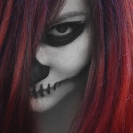 by Gabriela Olaru - People Body Art/Tattoos ( red hair face painting skull )