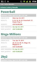 Screenshot of USA Lotto Results