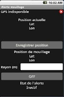 Screenshot of Alerte Mouillage