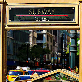 Take The Red Line by Tricia Scott - City,  Street & Park  Street Scenes ( urban, taxi, subway, street, entrance, redline, city )