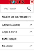 Screenshot of FOCUS Ärzteliste