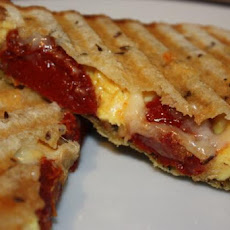 Panini With Scrambled Eggs and Tomatoes