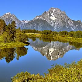 Mt. Moran Reflection by David Burks - Landscapes Mountains & Hills ( mountains, mt. moran, grand teton nat'l park, wyoming, river )