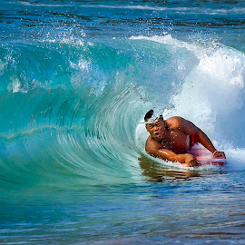 Boogie Board Curl by M K - Sports & Fitness Watersports ( water sport, waves, male, curl, sports, sport, sea, ocean, board, action, surf, boogie board, man )