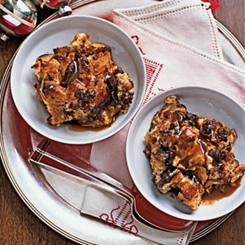 Challah Pudding With Chocolate, Raisins, And Vanilla Cream Recipe ...