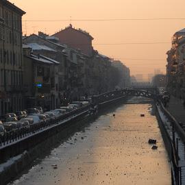 Navigli, Milano by Neža Kompare - City,  Street & Park  Street Scenes ( navigli, snow, canal, milano, sun )