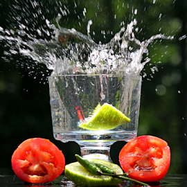 by Dipali S - Food & Drink Fruits & Vegetables ( water, fruit, peppers, splash, green, fruits, vegetables, lime, slice, tomatoes, chili )