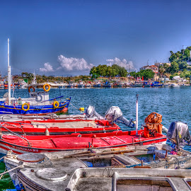 Kavala by Stratos Lales - City,  Street & Park  Street Scenes ( clouds, sky, buildings, sea, boat )