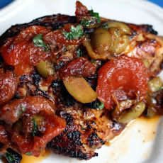Moroccan Chicken with Eggplant, Tomatoes, and Almonds