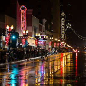 Gay Street; Knoxville, TN by John Edwin May - City,  Street & Park  Neighborhoods ( lights, night, rain )