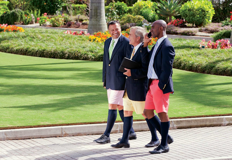 Businessmen in Hamilton, Bermuda, wearing — yes — Bermuda shorts.