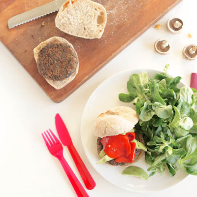 Mushroom, Chickpea & Walnut Burgers with Basil