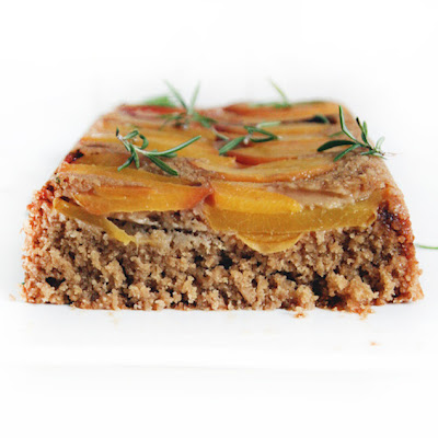 Rosemary Pound Cake with With Baked Peach Topping