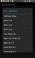 Screenshot of DOF Calculator