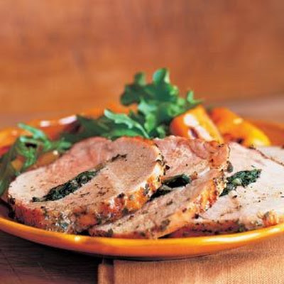 Pork Loin Stuffed with Greens & Garlic