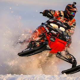 SNOCROSS by Kenton Knutson - Sports & Fitness Motorsports ( winter, snowmobile, racing, snow, action, fast )