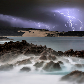 Canal Rocks Thunderstorm by Craig Eccles - News & Events Weather & Storms ( clouds, thunder, lightning strike, waves, lightning storm., ocean, beach, storm, lightning, lightning bolt, thunder strike, sky, event, cloud, thunder and lightning, weather, thunder storm, thunder bolt, rocks )