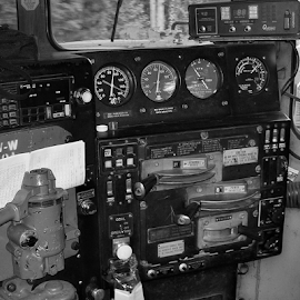 No problem by Alan Dougherty - Transportation Trains ( control, interior, black and white, railroad, locomotive, trains,  )