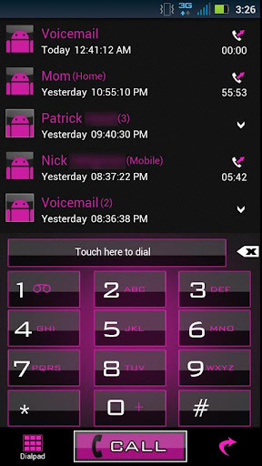 GO Contacts Clean Pink Theme