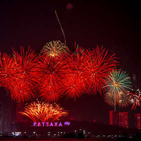 New Year Eve Pattaya. by John Greene - Public Holidays New Year's Eve ( fireworks, show, beach road, celebration, john greene, pattaya )