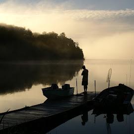 going fishing by Helen Bagley - Landscapes Sunsets & Sunrises ( peaceful, dawn, calmness, lakes, sunrise, docks, fishing boat )