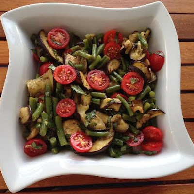 Roasted Eggplant, Tomato, & Green Bean Summer Salad