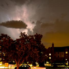 South 40 Storm  by Jon Zielke - Novices Only Landscapes ( umrath house, lightning, washu, stormscape, thunderstorm, cloudy, storm, washington university )