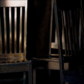 3 Chairs in Golden Light by David Stone - Artistic Objects Furniture ( wooden chairs, arrangement, detail, chairs, furniture, square image, closeup, golden light,  )