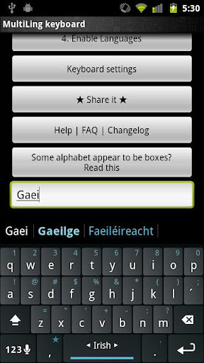 Irish Keyboard Plugin