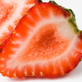 The Anatomy Of A Strawberry by George Holt - Food & Drink Fruits & Vegetables ( fruit, red, sliced, anotomy, half, seeds, strawberry )
