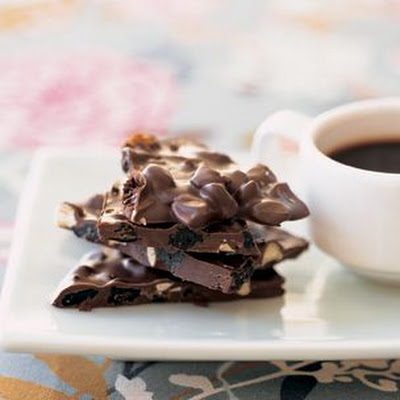 Dark Chocolate Bark with Toasted Almonds and Dried Blueberries