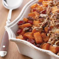 Roasted Sweet Potatoes with Cinnamon Pecan Crunch