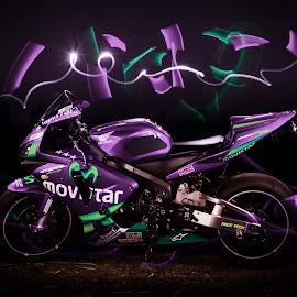Purple Moviestar by Jeremy Hill - Transportation Motorcycles ( light painting, purple, fine art, motorcycle, glow stick )